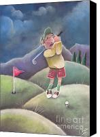 Game Pastels Canvas Prints - Out on the course Canvas Print by Caroline Peacock