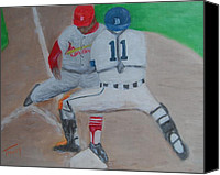 Baseball Painting Canvas Prints - Out Canvas Print by Timothy Johnson