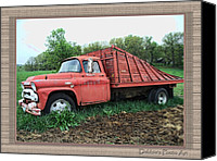 Old Trucks Canvas Prints - Out to pasture Canvas Print by Debbie Portwood