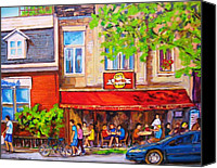Resto Cafes Canvas Prints - Outdoor Cafe Canvas Print by Carole Spandau