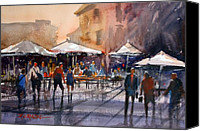 Impressionism Canvas Prints - Outdoor Market - Rome Canvas Print by Ryan Radke
