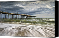 Beach Scene Canvas Prints - Outer Banks NC Avon Pier Cape Hatteras - Fortitude Canvas Print by Dave Allen