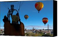 Hot Air Canvas Prints - Over Auburn and Lewiston Hot Air Balloons Canvas Print by Bob Orsillo
