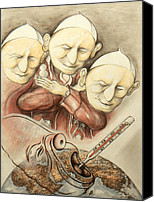 Pope Drawings Canvas Prints - Over-Pope-Ulation - Critical Cartoon Canvas Print by Peter Art Prints Posters Gallery