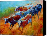 Animals Painting Canvas Prints - Over The Ridge - Longhorns Canvas Print by Marion Rose