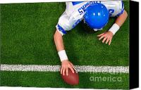 Birdseye Canvas Prints - Overhead American football player one handed touchdown Canvas Print by Richard Thomas
