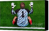 Birdseye Canvas Prints - Overhead shot of a goalkeeper on the goal line Canvas Print by Richard Thomas
