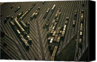 Rail Vehicles Canvas Prints - Overhead View Of The Argentine Yards Canvas Print by Emory Kristof