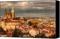 Prague Digital Art Canvas Prints - Overlook Prague Canvas Print by John Galbo