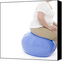 Fitness Ball Canvas Prints - Overweight Woman Canvas Print by