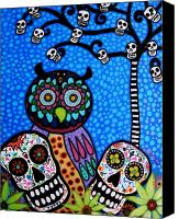 Blooms Painting Canvas Prints - Owl And Sugar Day Of The Dead Canvas Print by Pristine Cartera Turkus