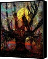 Fairytale Canvas Prints - Owl And Willow Tree Canvas Print by Mimulux patricia no