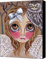 Jasmine Painting Canvas Prints - Owl Angel Canvas Print by Jaz Higgins