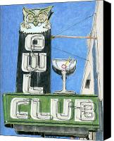 Photorealism Canvas Prints - Owl Club Canvas Print by Rob De Vries