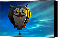 Balloon Festival Canvas Prints - Owl Hot Air Balloon Canvas Print by Bob Orsillo