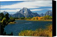 Autumn Photographs Canvas Prints - Oxbow Bend In Autumn borderless Canvas Print by Greg Norrell
