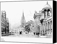 Architecture Drawings Canvas Prints - OXFORD - HIGH STREET c1880 Canvas Print by Granger