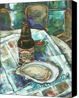 Louisiana Seafood Canvas Prints - Oyster and Amber Canvas Print by Dianne Parks