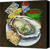 Louisiana Seafood Canvas Prints - Oyster and Crystal Canvas Print by Dianne Parks