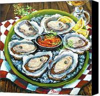 Still Life Tapestries Textiles Canvas Prints - Oysters on the Half Shell Canvas Print by Dianne Parks