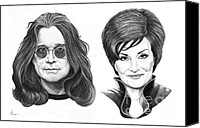 Celebrities Drawings Canvas Prints - Ozzy and Sharon Osbourne Canvas Print by Murphy Elliott