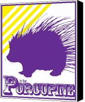 Alphabet Digital Art Canvas Prints - P is for Porcupine Canvas Print by Arlissa Vaughn