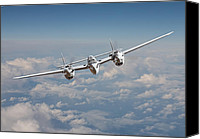 Usaf Canvas Prints - P38 - Polished Performance Canvas Print by Pat Speirs