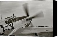 Canvas Wrap Canvas Prints - P51 Mustang Takeoff Ready Canvas Print by M K  Miller