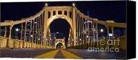 Clemente Photo Canvas Prints - PA0011 Roberto Clemente Bridge Pittsburgh Canvas Print by Steve Sturgill