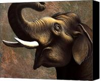 Huge Painting Canvas Prints - Pachyderm 1 Canvas Print by Jerry LoFaro
