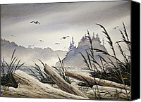 Driftwood Canvas Prints - Pacific Northwest Driftwood Shore Canvas Print by James Williamson