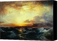 Rays Painting Canvas Prints - Pacific Sunset Canvas Print by Thomas Moran