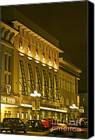 City Scape Digital Art Canvas Prints - Pacific Theatres In San Diego At Night Canvas Print by Ben and Raisa Gertsberg