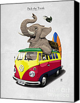 Vacation Digital Art Canvas Prints - Pack the Trunk Canvas Print by Rob Snow