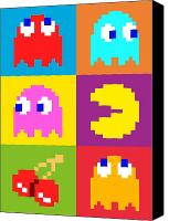 Man Canvas Prints - PacMan Squares Canvas Print by Michael Tompsett