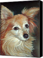 Dog Painting Canvas Prints - Paco the Papillion Canvas Print by Enzie Shahmiri