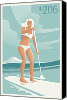 Mitch Frey Canvas Prints - Paddleboarding Seattle Canvas Print by Mitch Frey