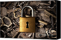 Indoors Inside Canvas Prints - Padlock over keys Canvas Print by Carlos Caetano