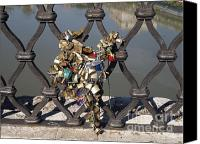 The Superstitions Canvas Prints - Padlocks on bridge. Rome Canvas Print by Bernard Jaubert