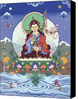 Thangka Canvas Prints - Padmasambhava Canvas Print by Carmen Mensink