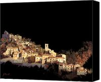 Night Sky Painting Canvas Prints - Paesaggio Scuro Canvas Print by Guido Borelli