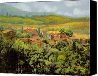 Tuscany Painting Canvas Prints - Paesaggio Toscano Canvas Print by Guido Borelli