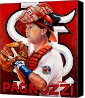 Major League Baseball Painting Canvas Prints - Pagnozzi Canvas Print by Jim Wetherington