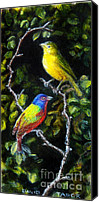 Harbor Art Painting Canvas Prints - Painted-buntings Pair Canvas Print by David Tabor