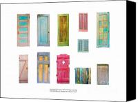 Old Sculpture Canvas Prints - Painted Doors and Window Panes Canvas Print by Asha Carolyn Young and Daniel Furon