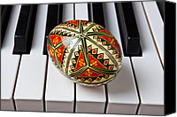 Classical Musical Art Canvas Prints - Painted Easter egg on piano keys Canvas Print by Garry Gay
