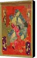 Art Quilt Tapestries - Textiles Canvas Prints - Painted Geisha Canvas Print by Roberta Baker