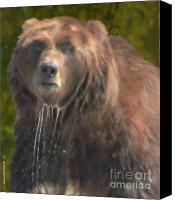 Montana Digital Art Canvas Prints - Painted Grizzly ... Montana Art Photo Canvas Print by GiselaSchneider MontanaArtist