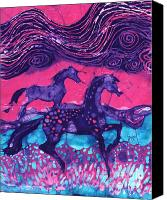 Painted Tapestries - Textiles Canvas Prints - Painted Horses Below the Wind Canvas Print by Carol  Law Conklin