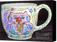 Wheel Thrown Canvas Prints - Painted Kitty Mug Canvas Print by Joyce Jackson